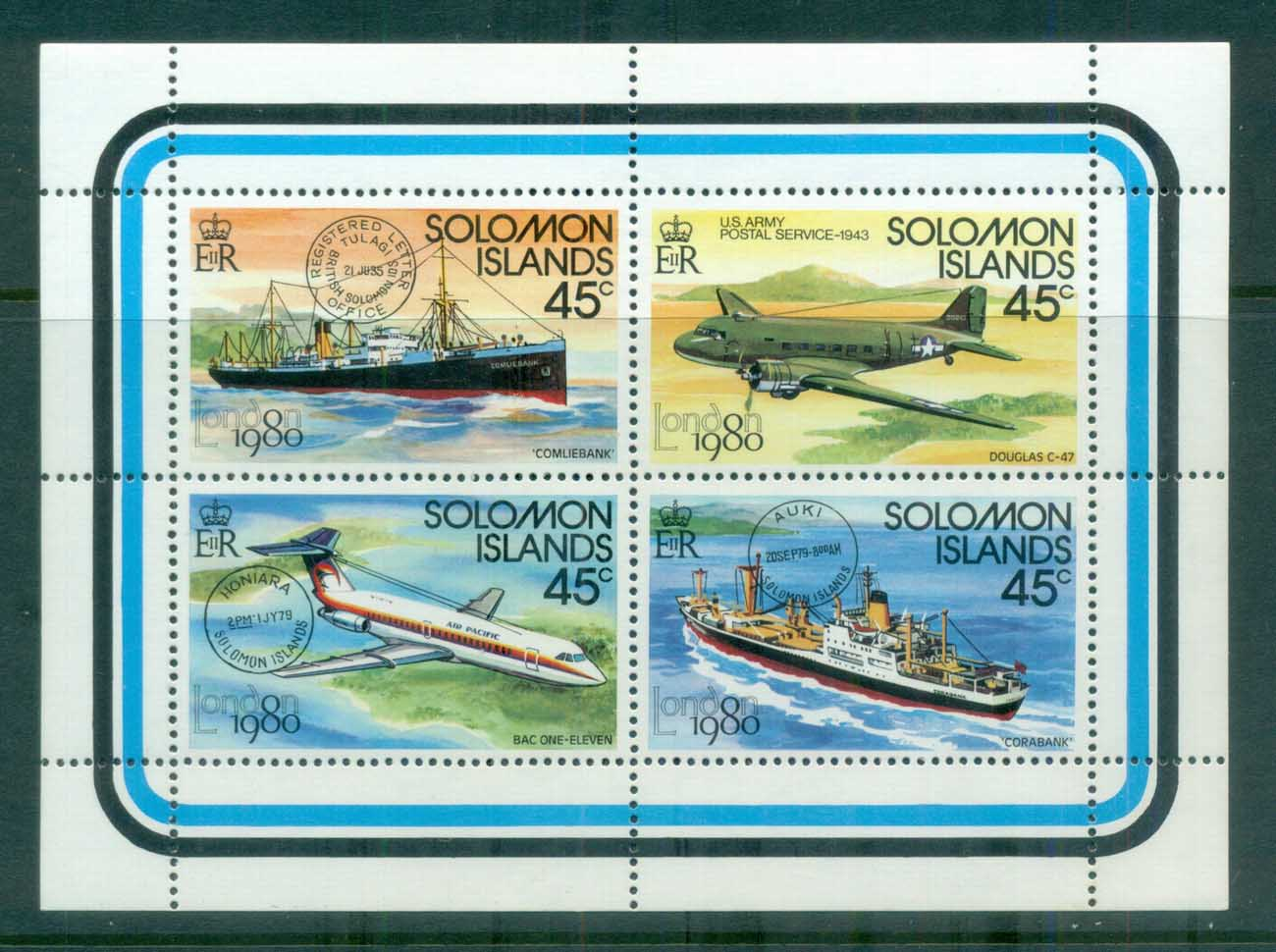 Solomon Is 1980 London 1980, Ships, Planes MS MUH lot81800