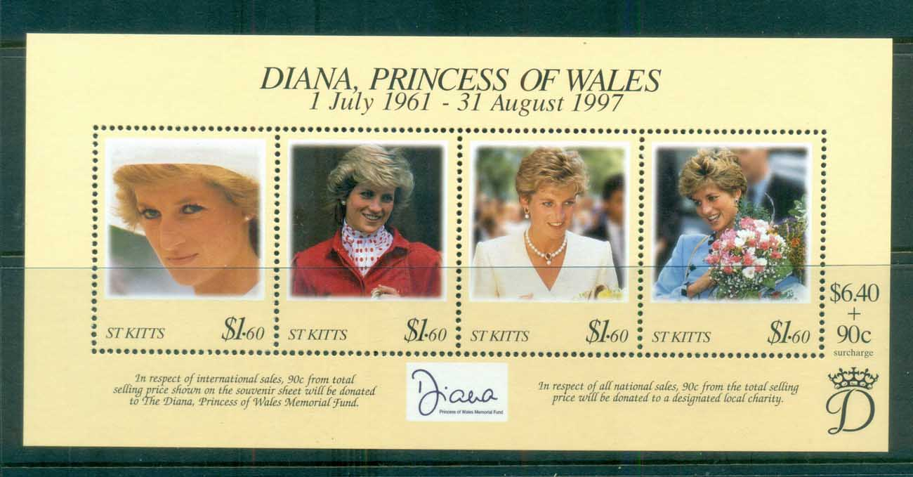 St Kitts 1998 Princess Diana in Memoriam MS MUH lot81825