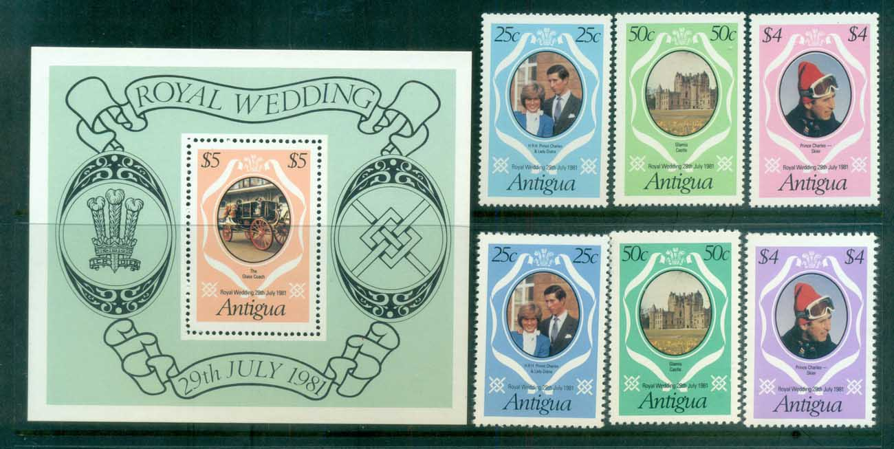 Antigua 1981 Charles & Diana Royal Wedding +MS + reprint MUH lot81846