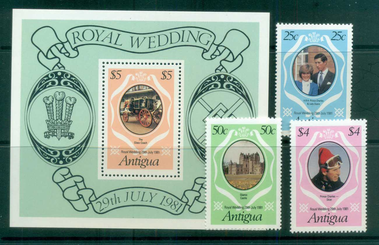 Antigua 1981 Charles & Diana Royal Wedding +MS MUH lot81850