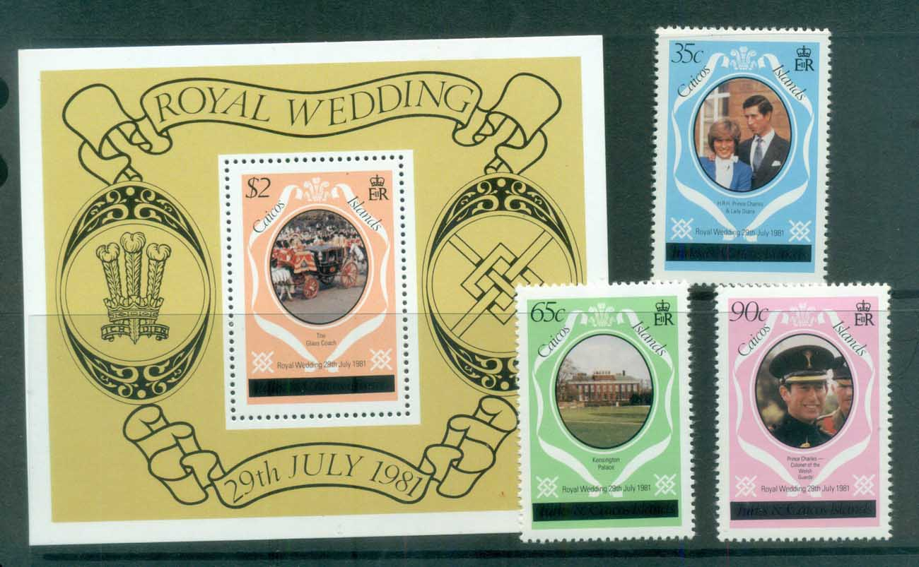 Turks & Caicos Is 1981 Charles & Diana Royal Wedding Caicos Opt +MS (italic) MUH lot81853