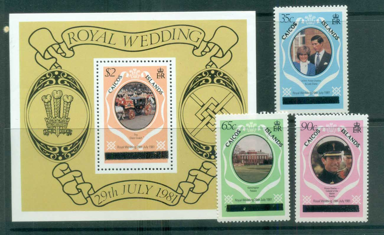 Turks & Caicos Is 1981 Charles & Diana Royal Wedding Caicos Op+MS (bold) MUH lot81854