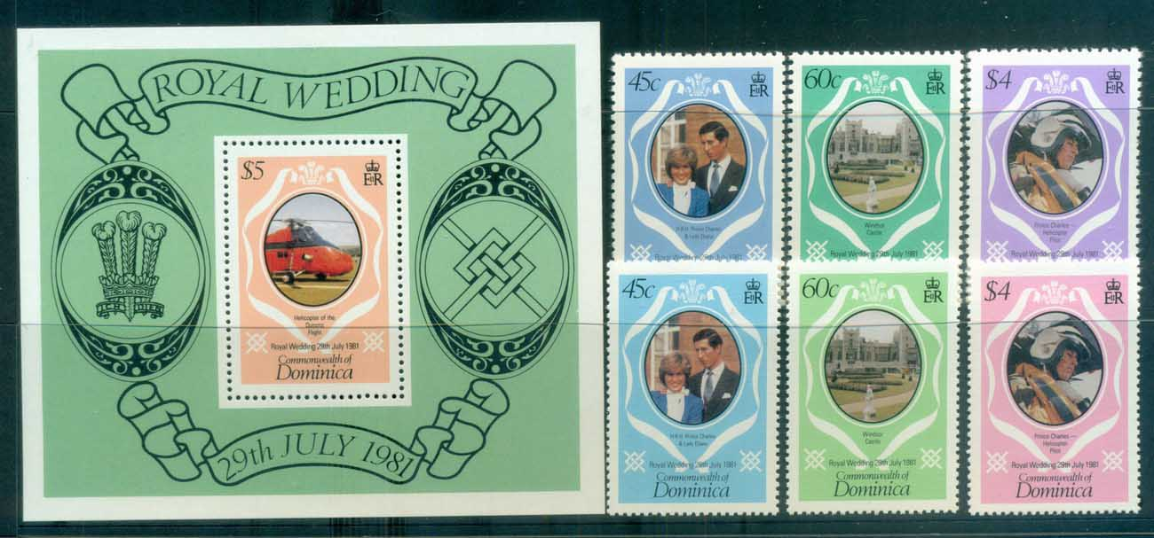 Dominica 1981 Charles & Diana Royal Wedding +MS + reprint MUH lot81855