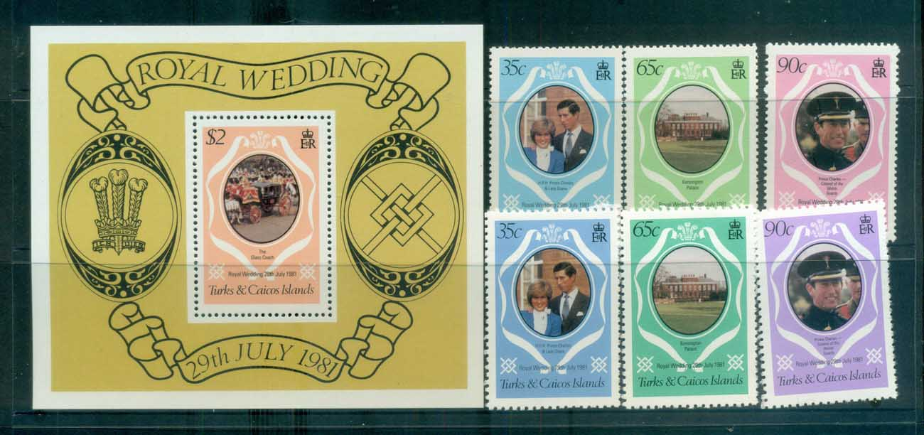 Turks & Caicos Is 1981 Charles & Diana Royal Wedding + MS + reprint MUH lot81872
