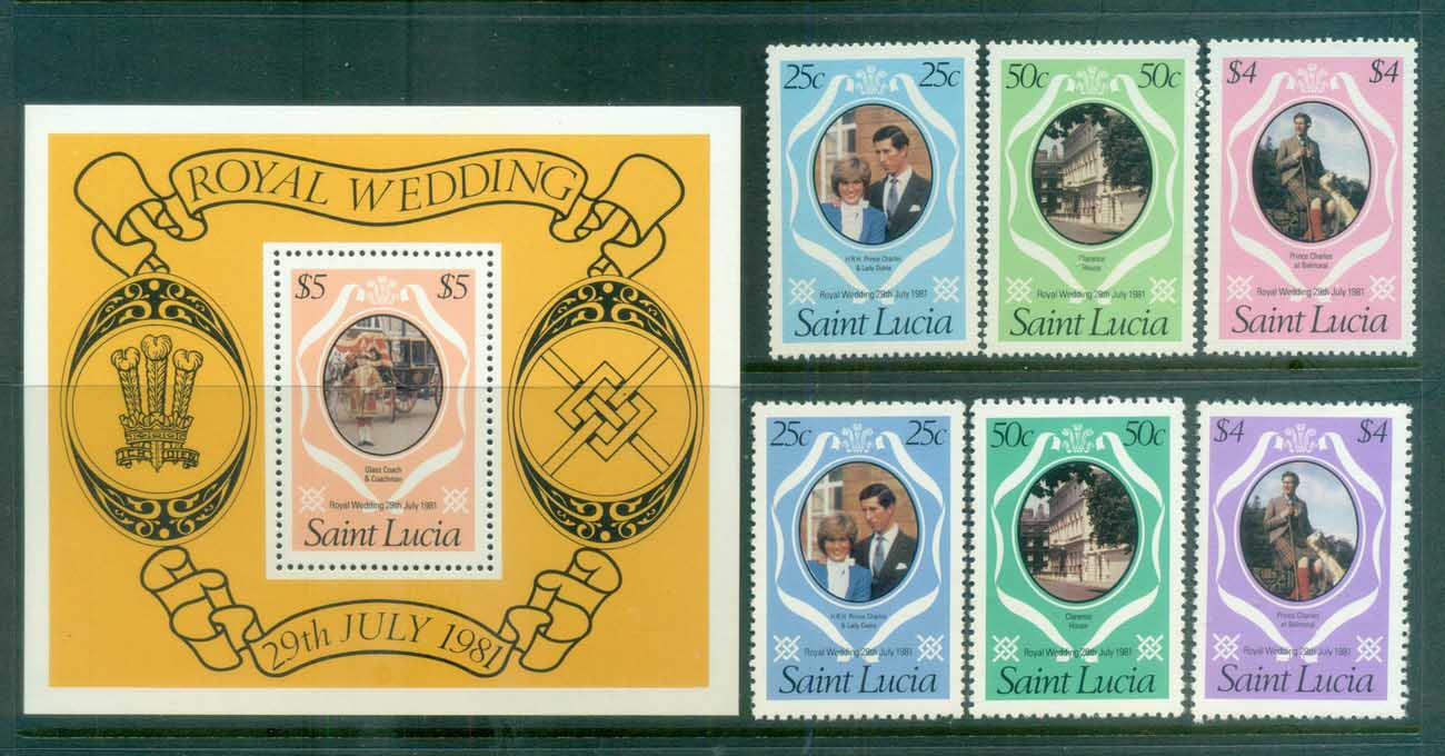 St Lucia 1981 Charles & Diana Royal Wedding + MS + reprint MUH lot81874