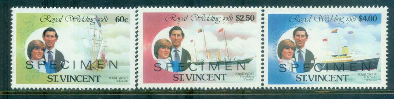 St Kitts 1981 Charles & Diana Royal Wedding 3v. SPECIMEN Opt MUH lot81886