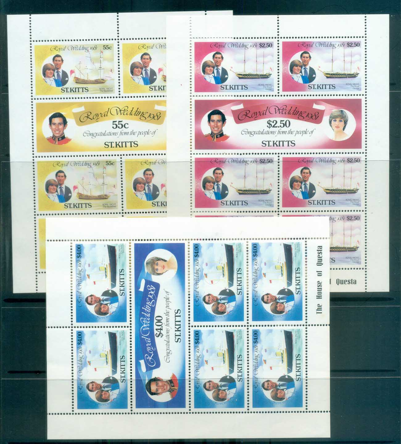 St Kitts 1981 Charles & Diana Royal Wedding Sheetlet 3x MUH lot81887