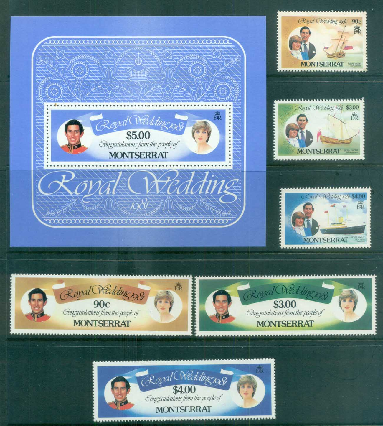 Montserrat 1981 Charles & Diana Royal Wedding + MS MUH lot81894