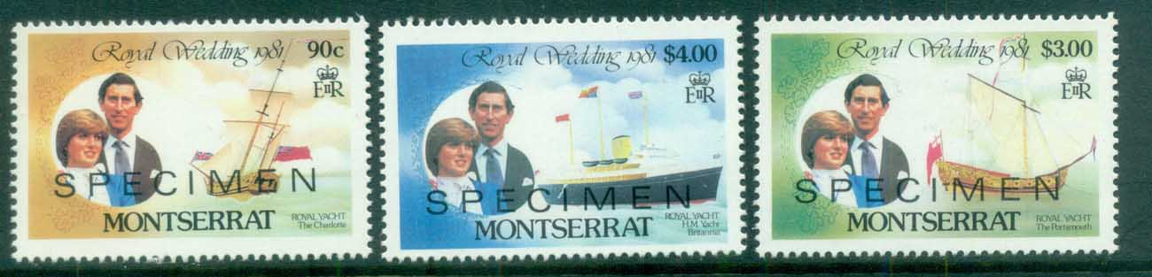 Montserrat 1981 Charles & Diana Royal Wedding 3v. SPECIMEN Opt MUH lot81895