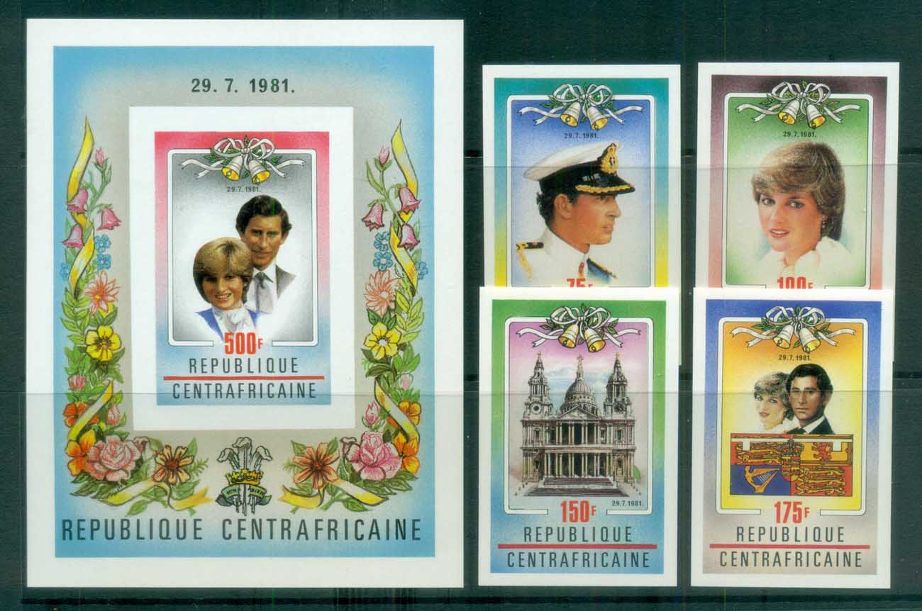 Central African Republic 1981 Charles & Diana Royal Wedding IMPERF + MS MUH lot81909
