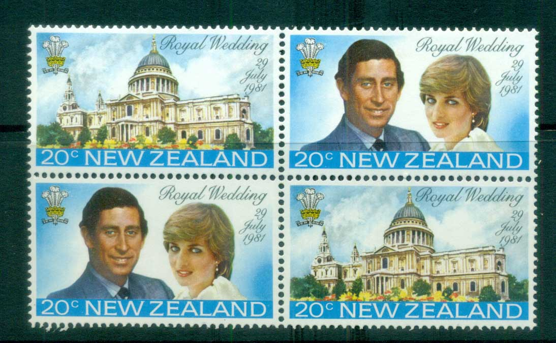 New Zealand 1981 Charles & Diana Royal Wedding Blk 4 MUH lot81927