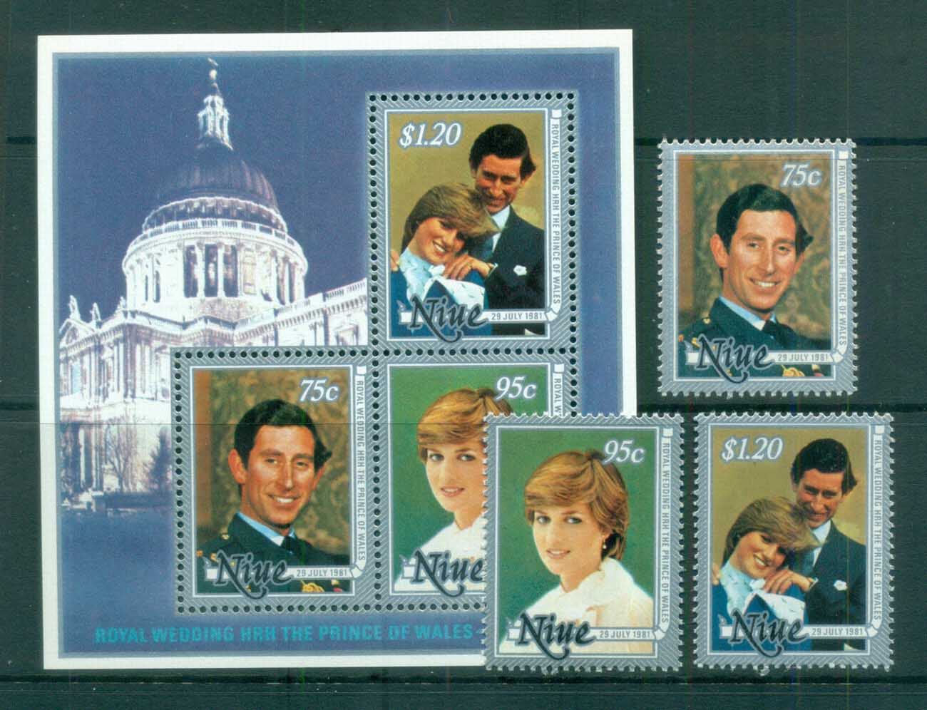 Niue 1981 Charles & Diana Royal Wedding + MS MUH lot81953