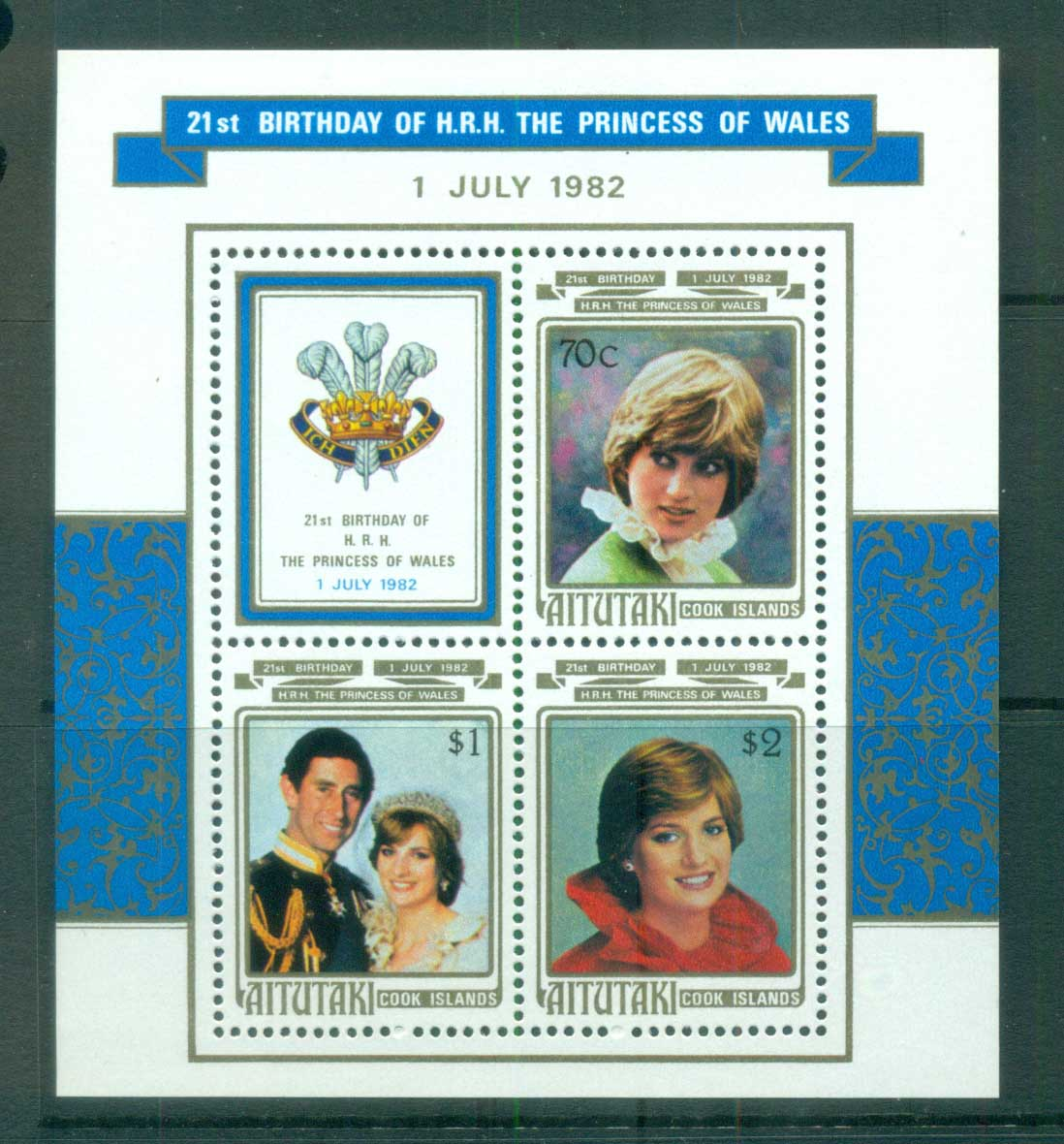 Aitutaki 1982 Princess Diana 21st Birthday MS MUH lot81987