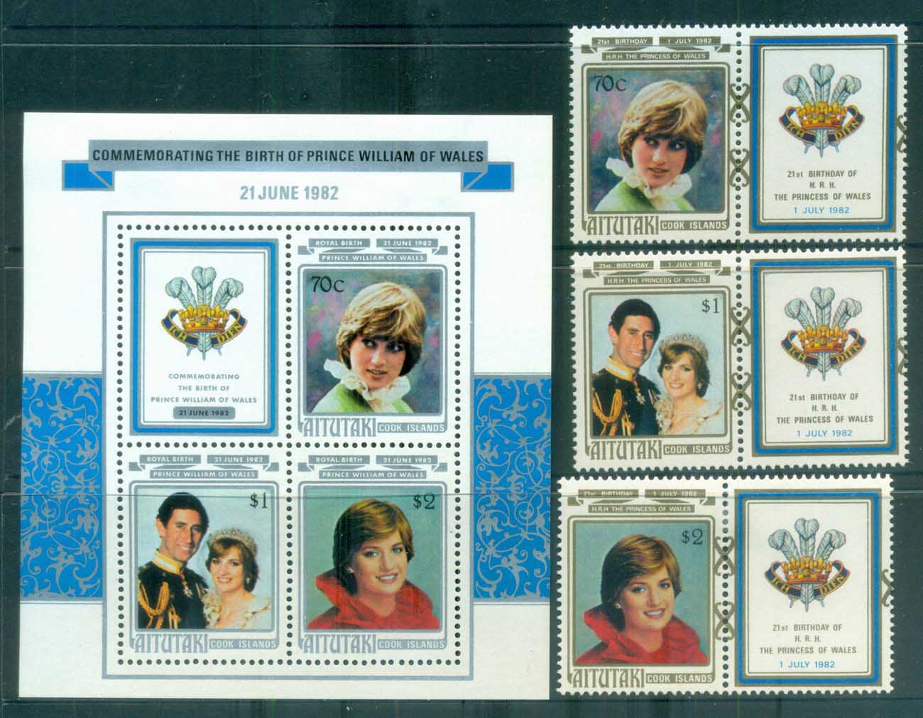 Aitutaki 1982 Princess Diana 21st Birthday + MS MUH lot81990