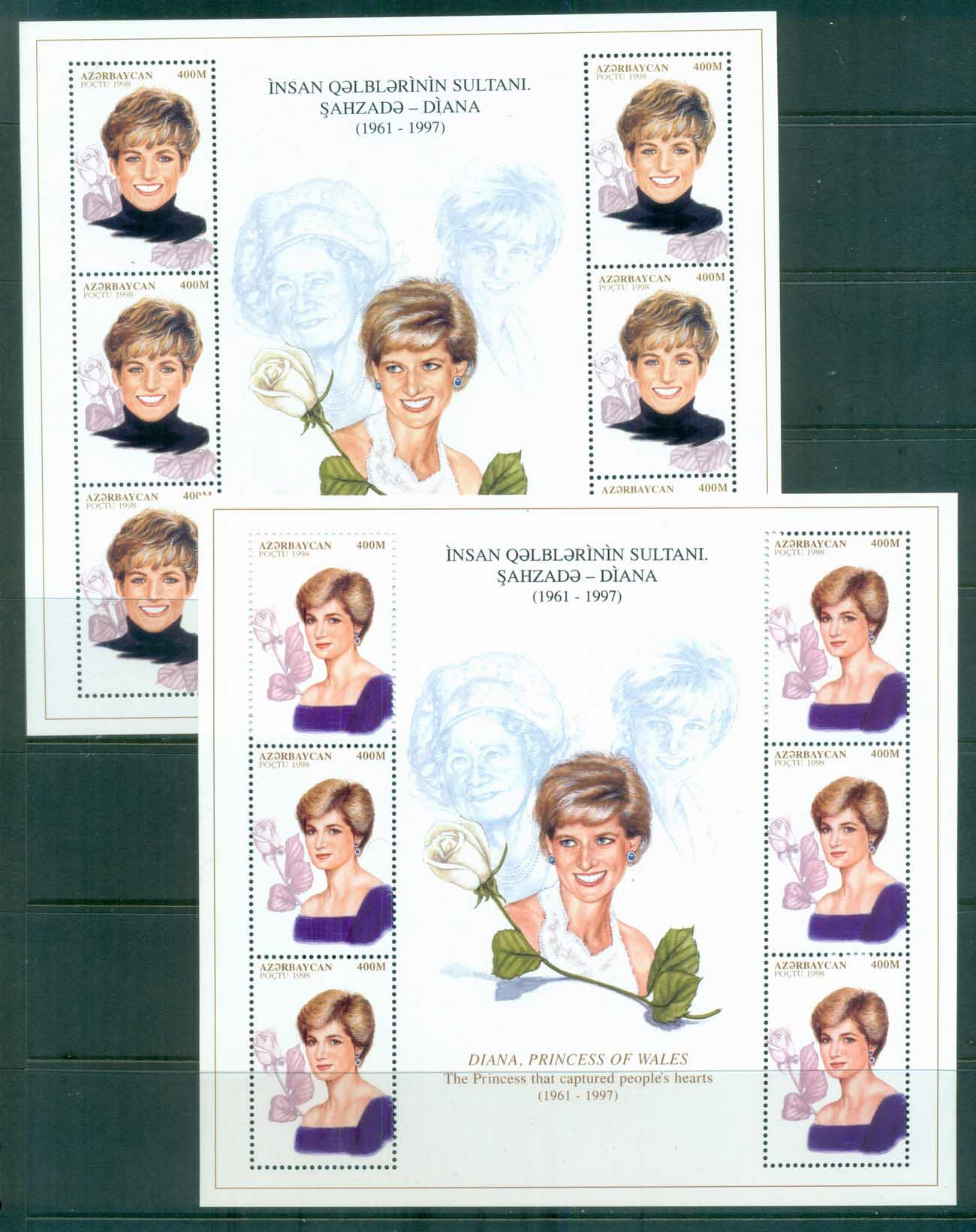 Azerbaijan 1998 Princess Diana In Memoriam 2xMS MUH lot81995