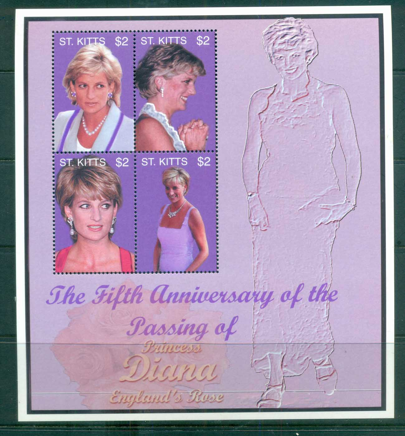 St Kitts 2002 Princess Diana In Memoriam (1of 2) MS MUH lot82039