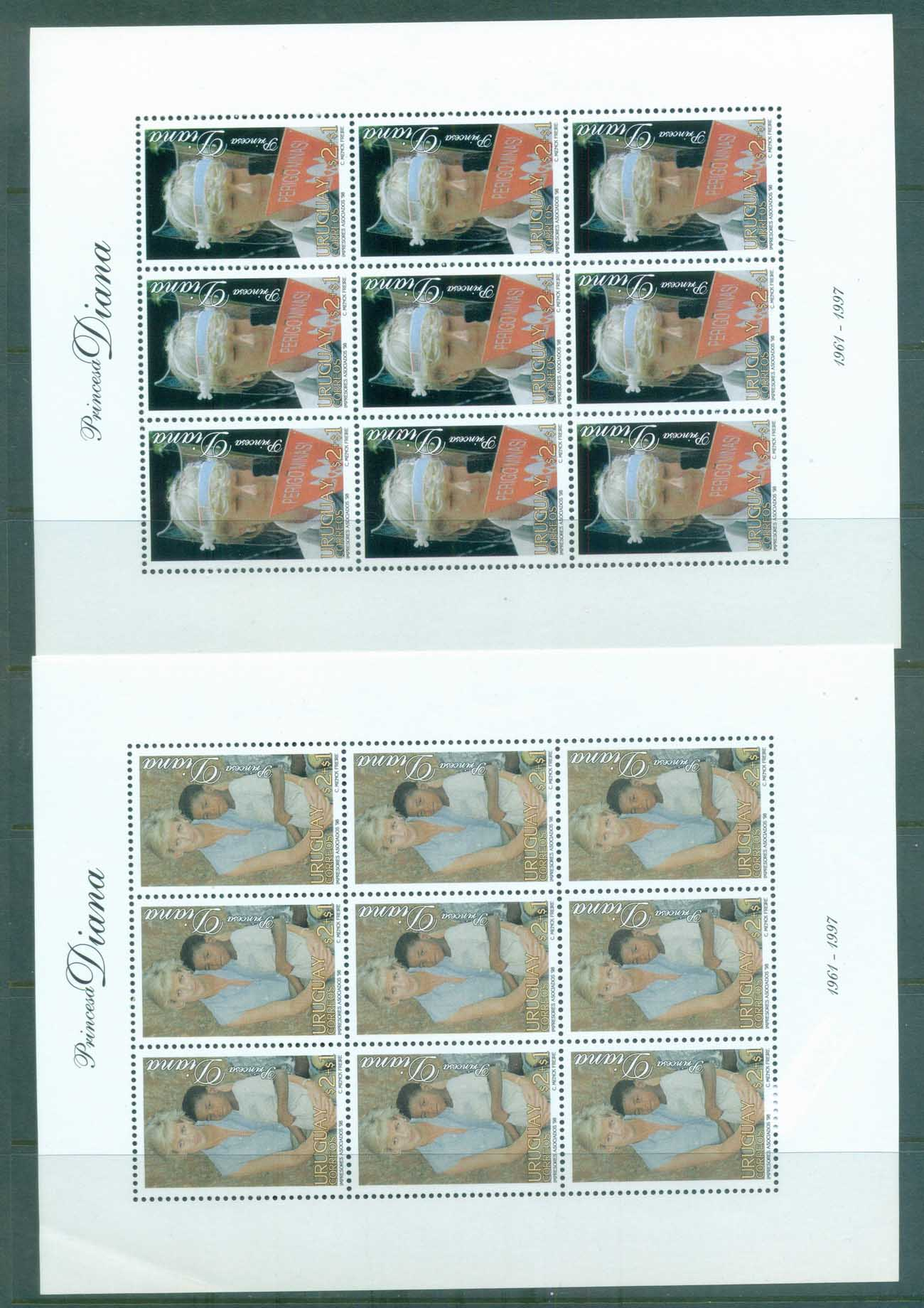 Uruguay 1998 Princess Diana In Memoriam 2xMS MUH lot82049
