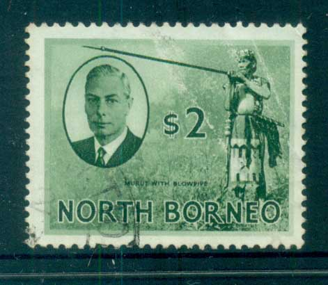 North Borneo 1950 KGVI Murut with Blowgun $2 FU lot82363