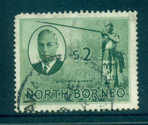 North Borneo 1950 KGVI Murut with Blowgun $2 FU lot82364