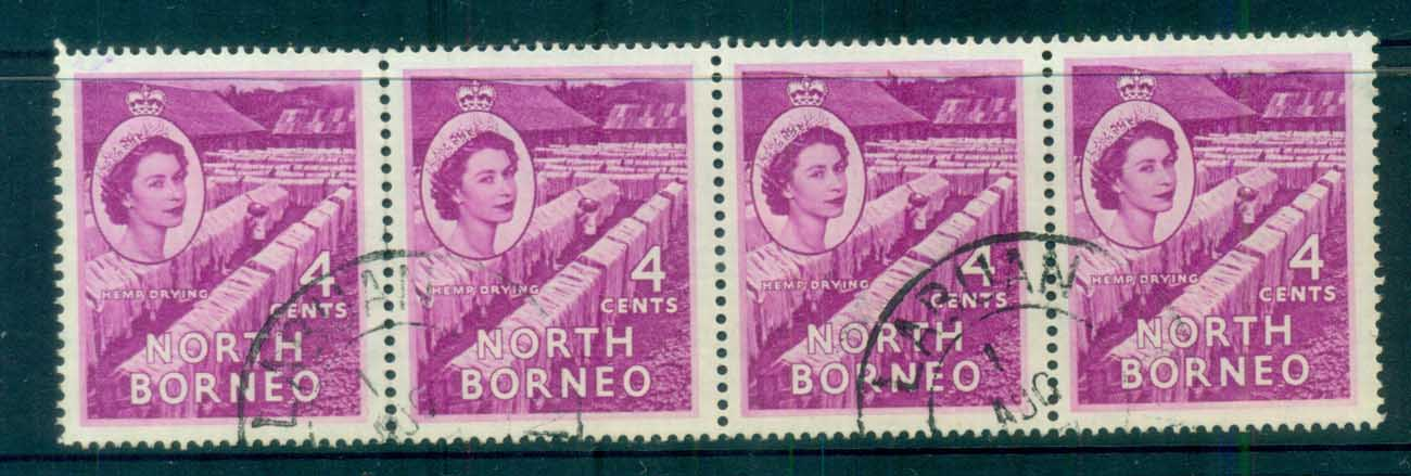 North Borneo 1954-57 QEII Hemp Drying 4c Str 4FU lot82365