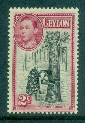Ceylon 1938-52 KGVI Tapping Rubber 2c Perf 13.5x13 MLH lot82465