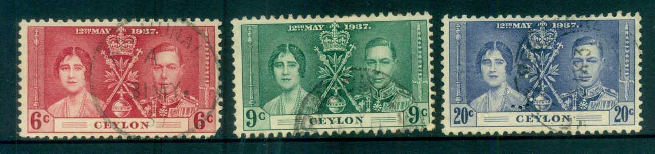 Ceylon 1937 Coronation(6c fault) FU lot82483