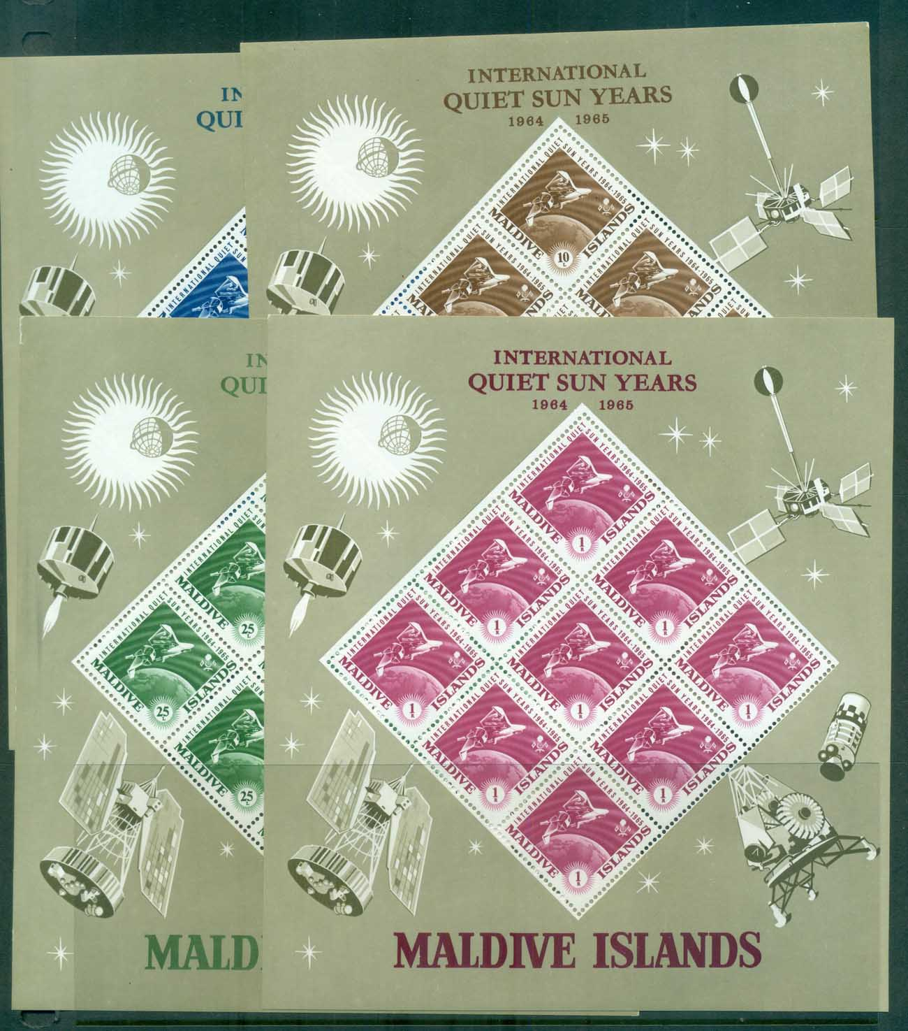 Maldive Is 1965 Quiet Sun Years, Space 4xMS lot82493