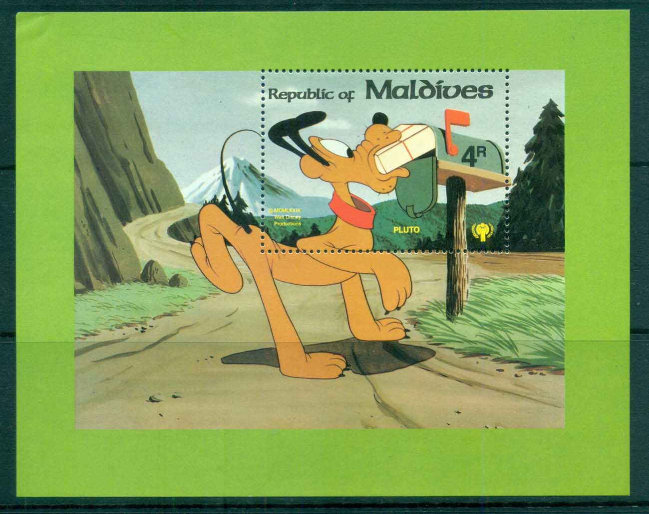 Maldive Is 1979 Disney, Pluto at Mailbox MS lot82494