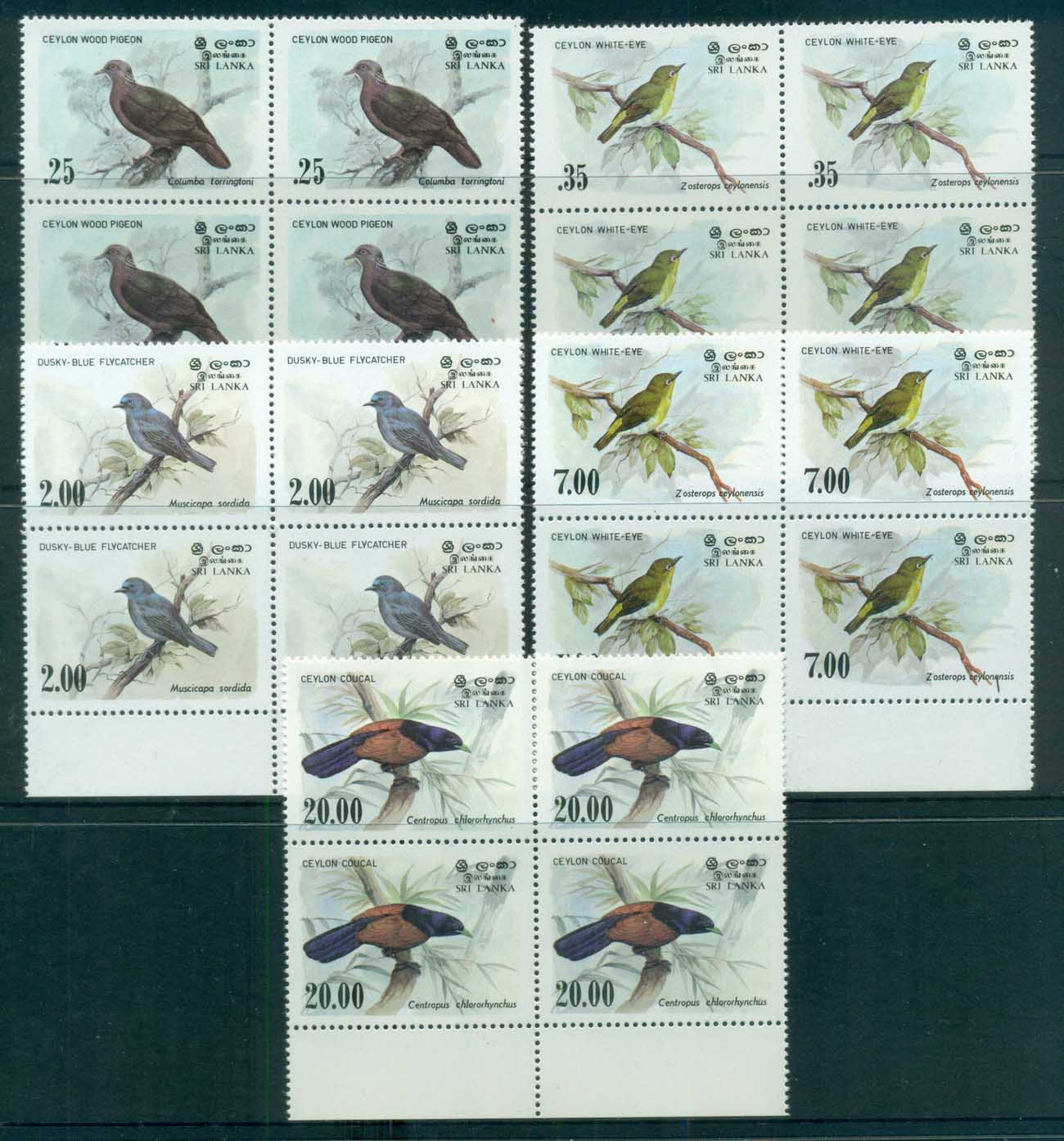 Sri Lanka 1983-88 Birds Blks 4 MUH lot82505
