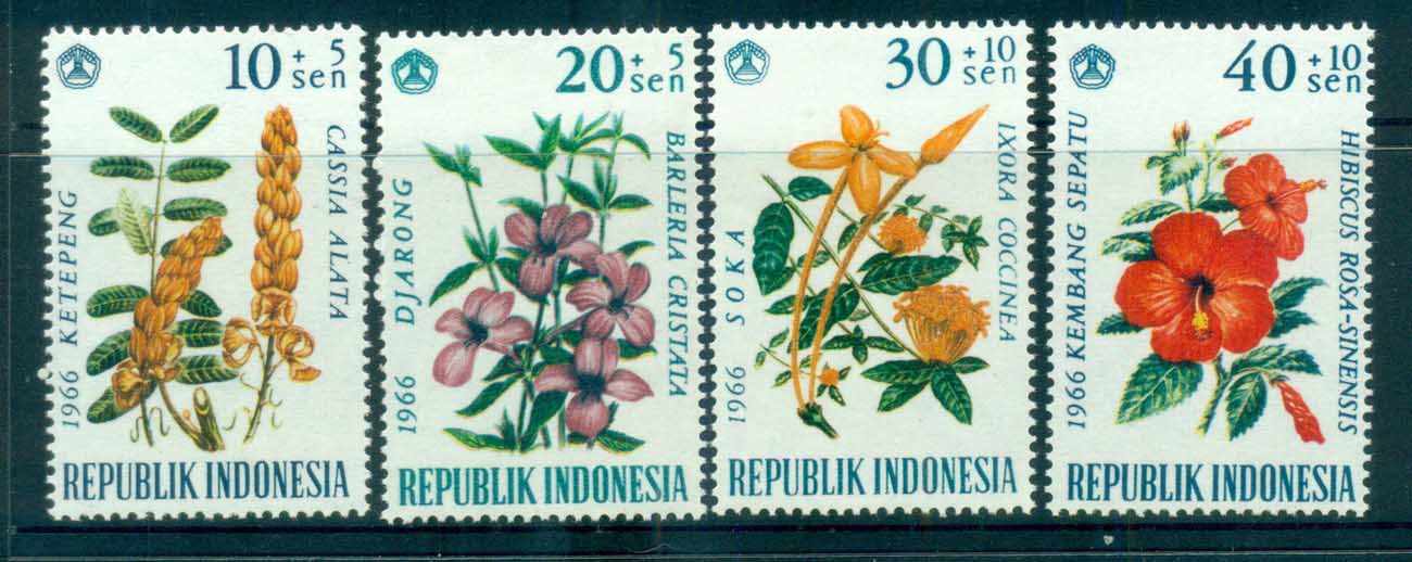 Indonesia 1966 Flowers Dated 1966 MUH