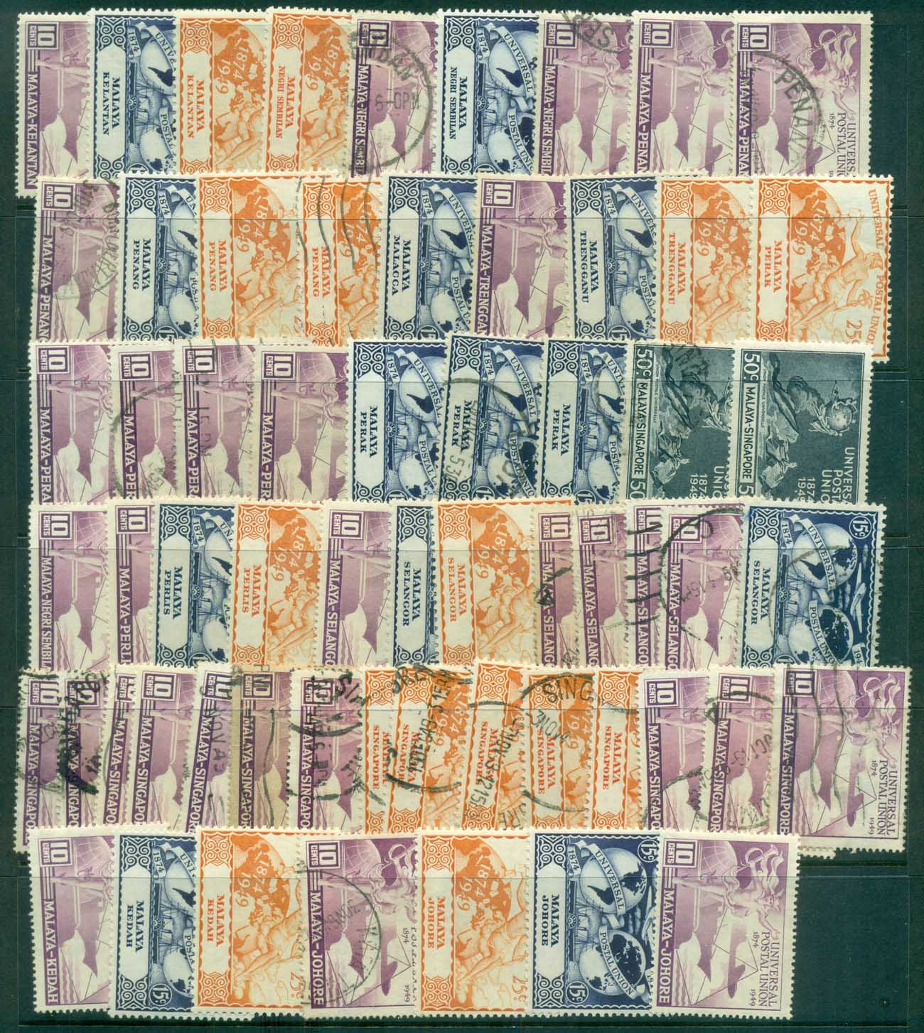 Malaya 1949 UPU Assorted Oddments MLH/FU lot82560