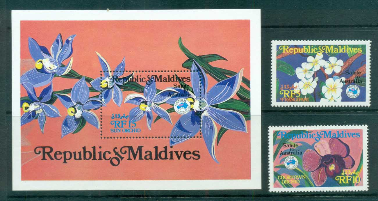 Maldive Is 1984 AUSIPEX , Orchids + MS MUH lot83094