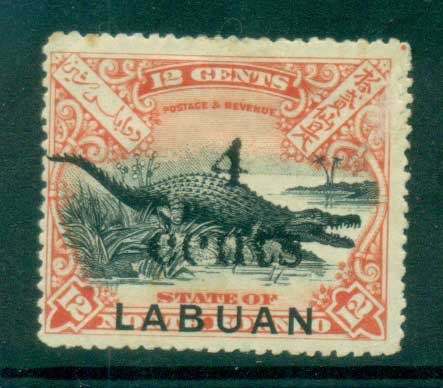 Labuan 1899 Crocodile Opt 4 cents (small faults) MH lot83107