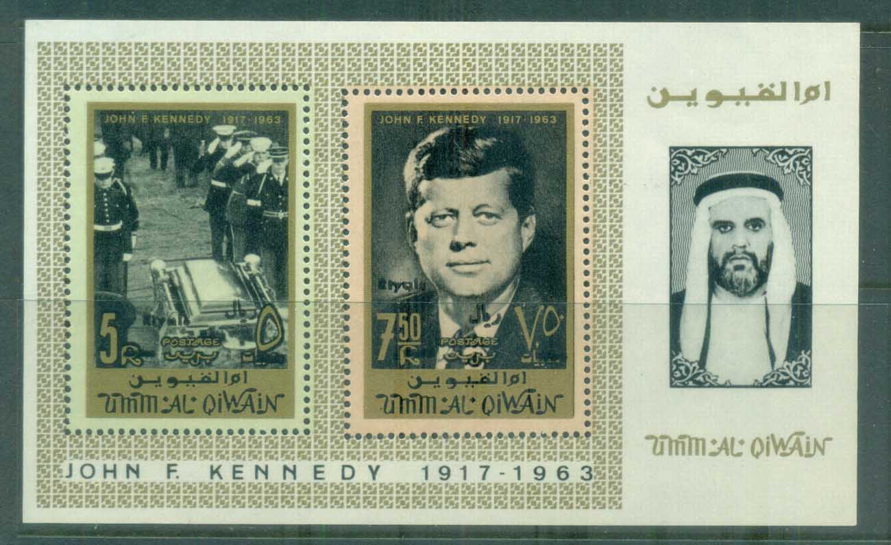 Umm al Qiwain 1967 JFK Kennedy Currency Revalued Opt MS MUH lot84641