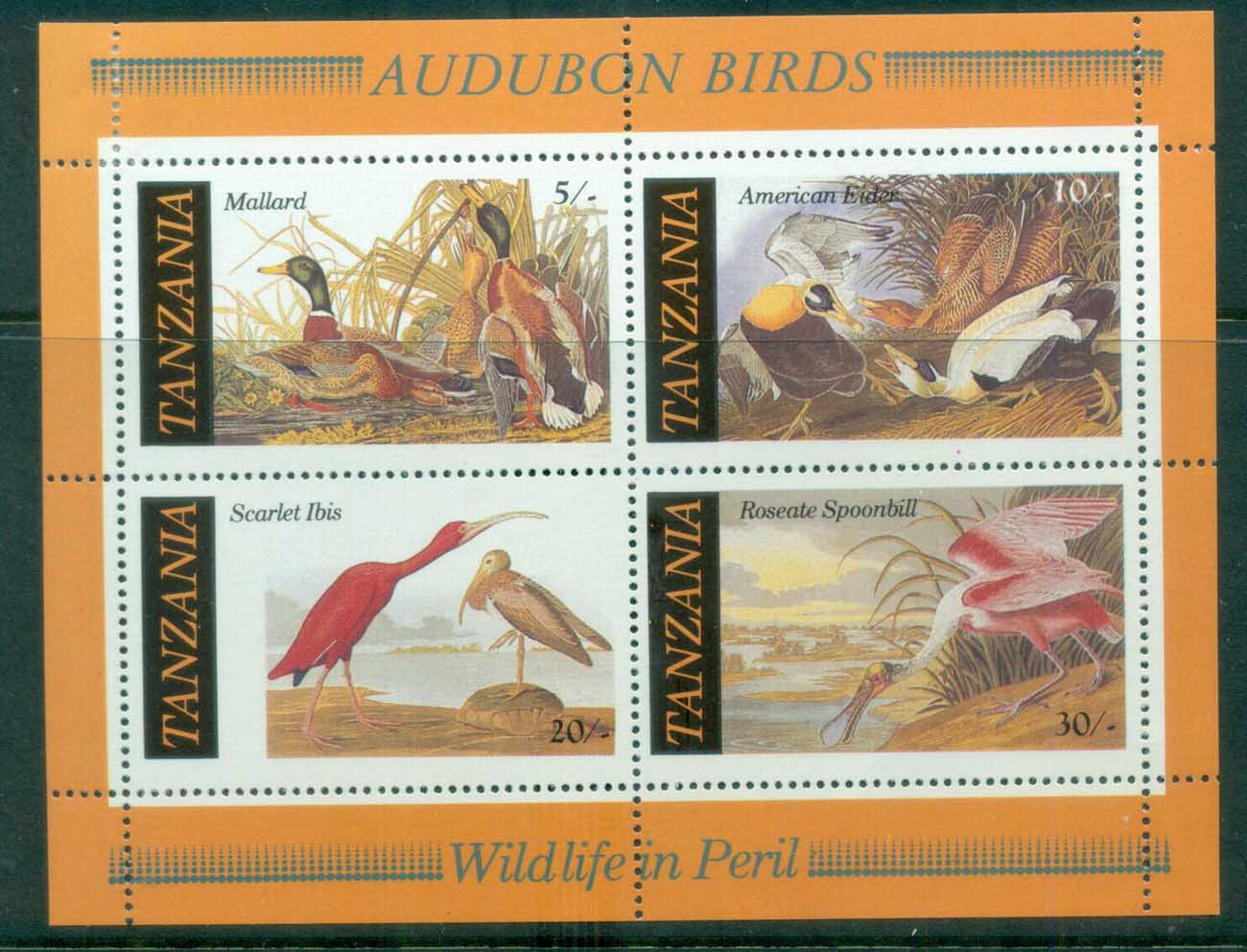 Tanzania 1986 Audubon Birds MS MLH lot84776