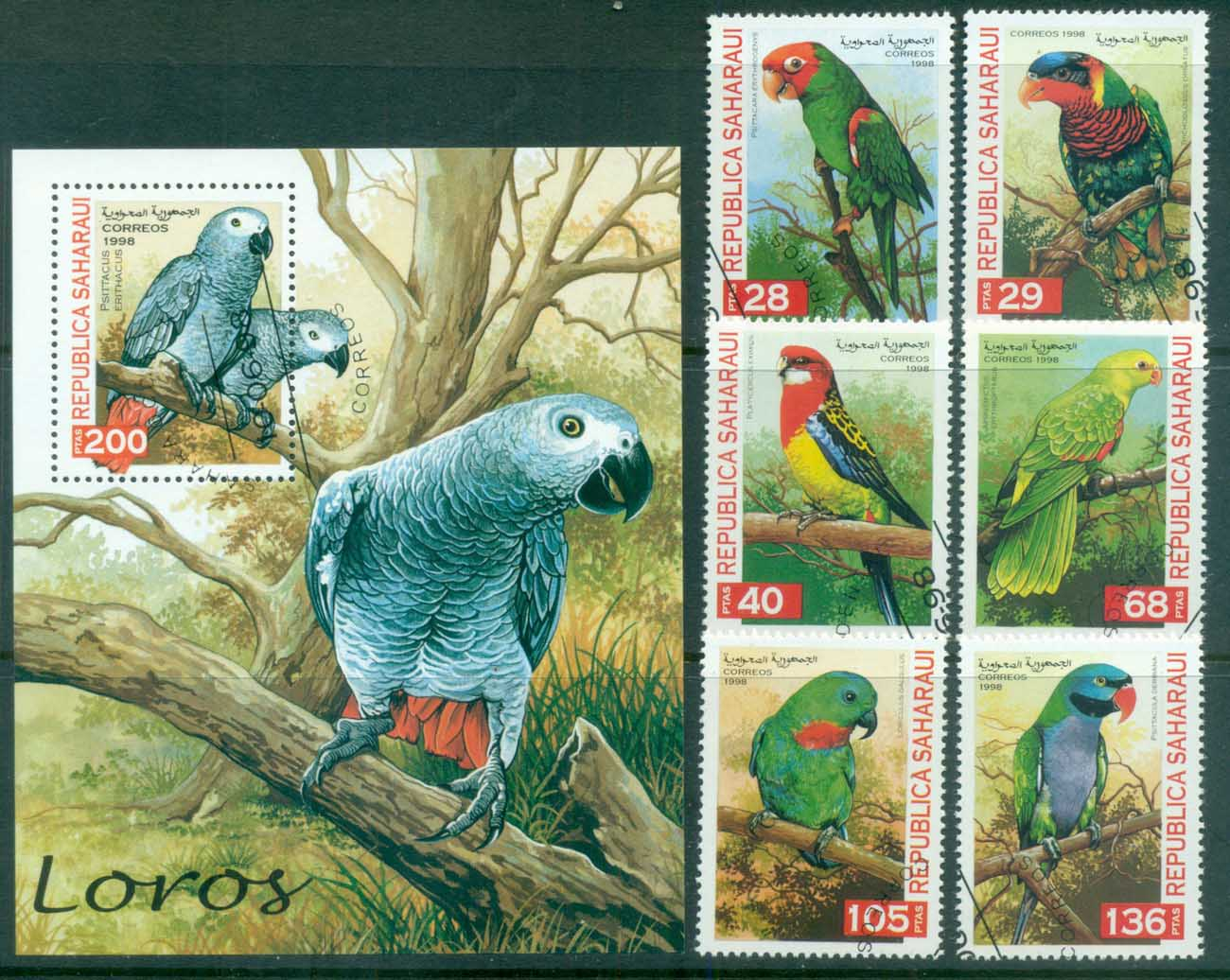 Sahara Occidental 1998 Parrots + MS CTO