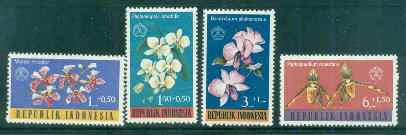Indonesia 1962 Social Day, Flowers, Orchids MUH