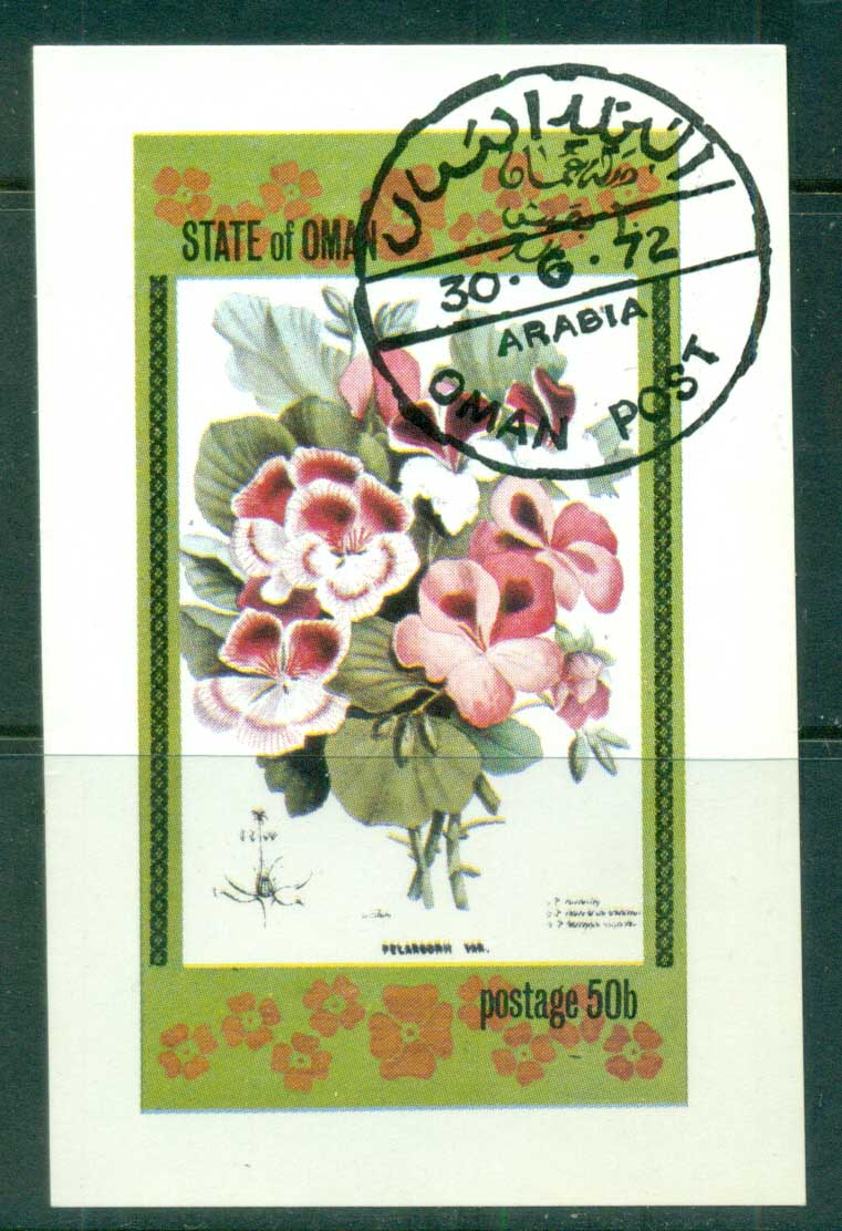 Oman State of 1972 Flowers IMPERF MS CTO