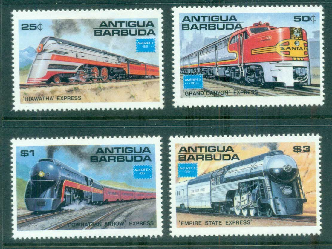Antigua & Barbuda 1986 Trains AMERIPEX MUH