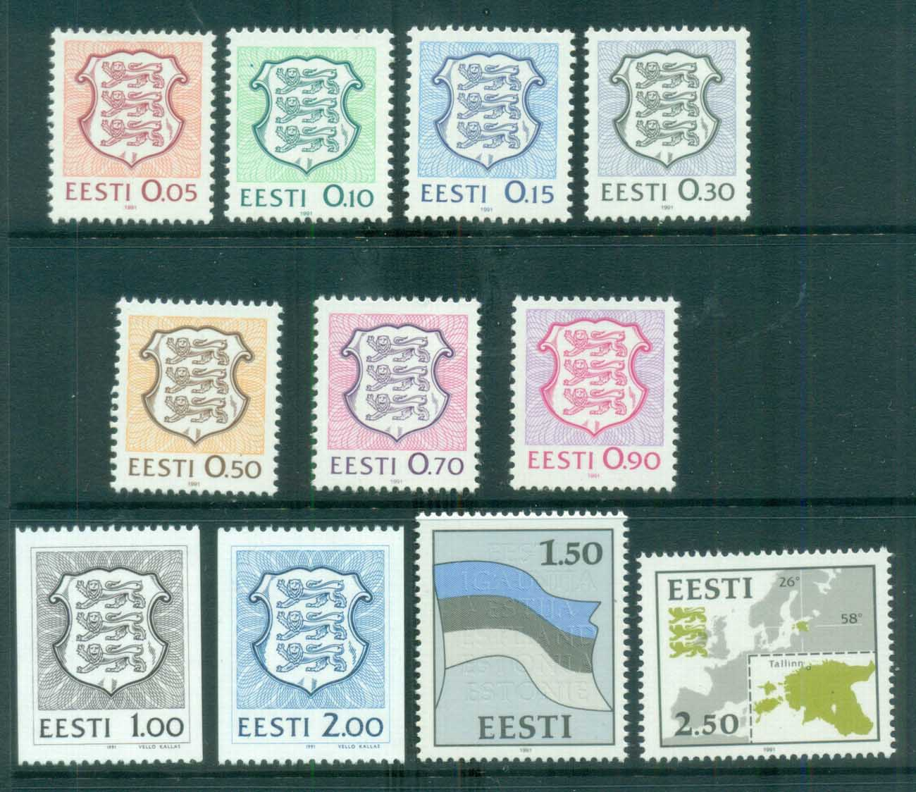 Estonia 1992 Definitives, Map, Arms, Flag (10) MUH