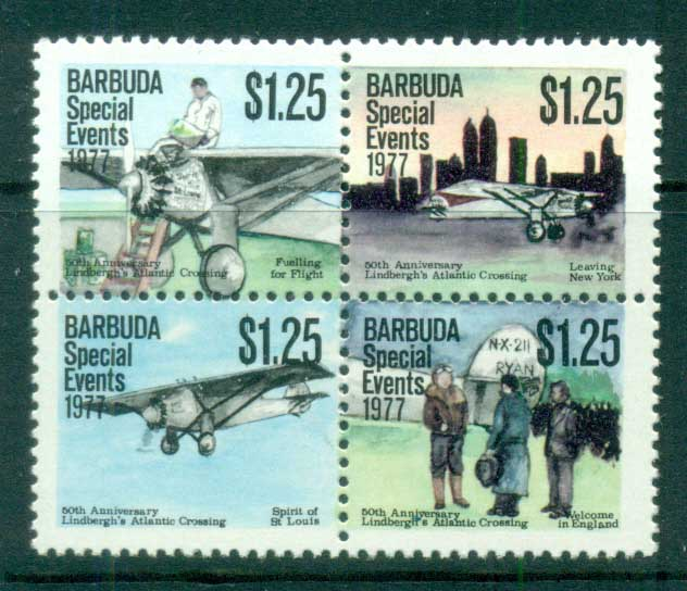 Barbuda 1977 Special Events, Lindberg's Atlantic Crossing $1.25 blk4 MUH