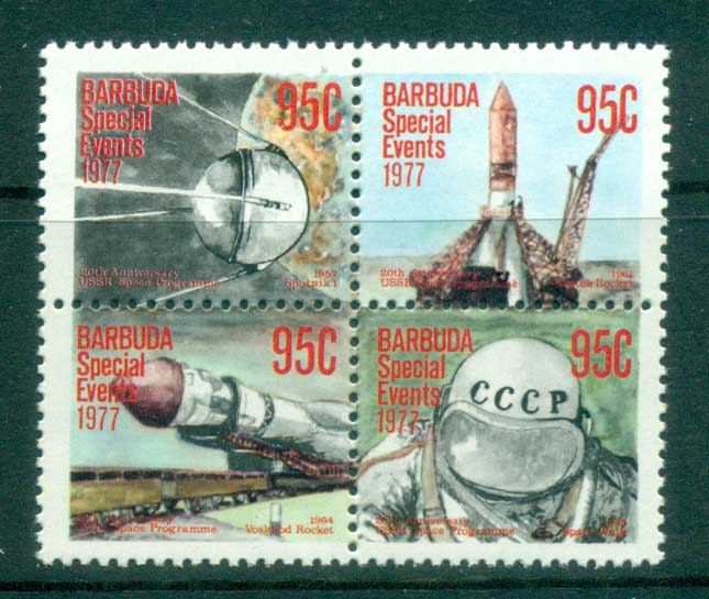 Barbuda 1977 Special Events, Soviet Space Program $0.95 blk4 MUH