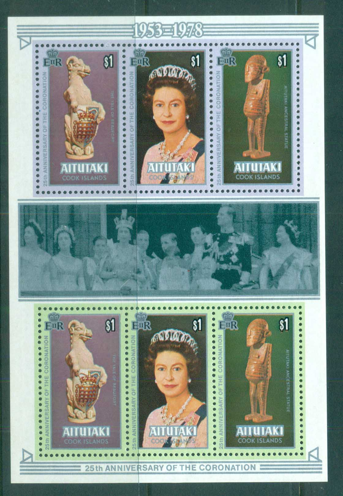 Aitutaki 1978 QEII Coronation, 25th Anniversary , Royalty MS MUH