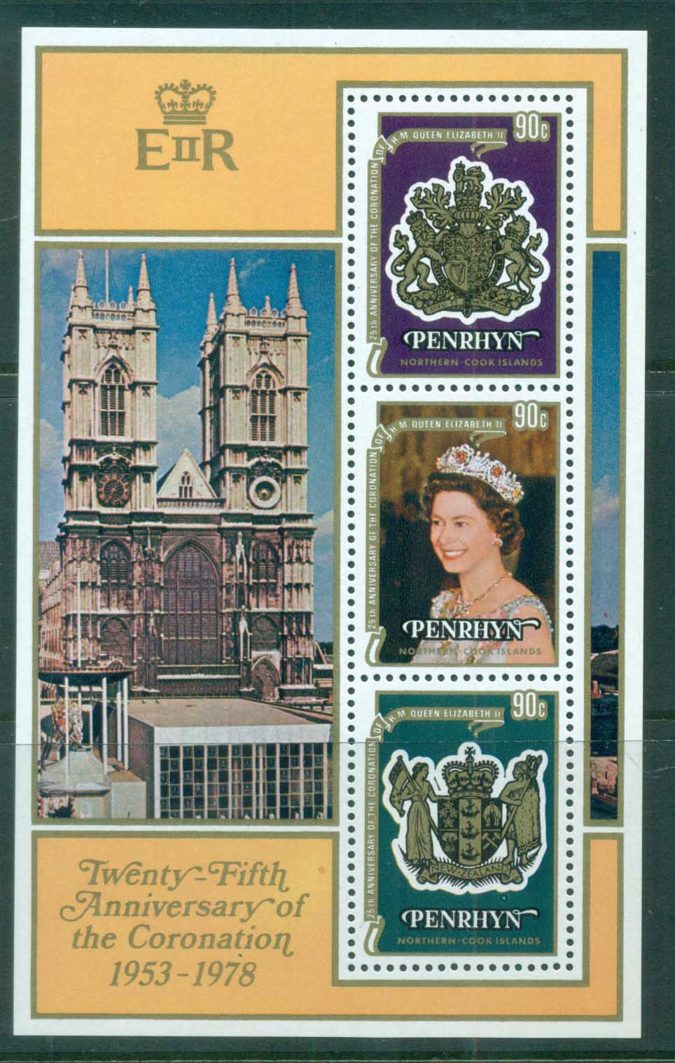 Penrhyn Is 1978 QEII Coronation, 25th Anniversary , Royalty MS MUH
