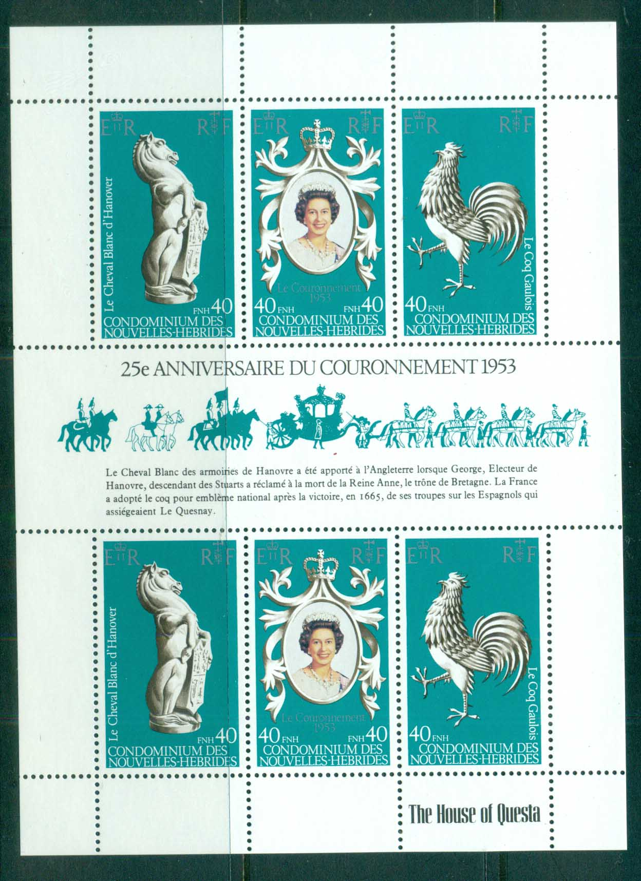 New Hebrides (Fr) 1978 QEII Coronation, 25th Anniversary , Royalty MS MUH