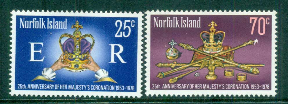 Norfolk Is 1978 QEII Coronation, 25th Anniversary , Royalty MUH