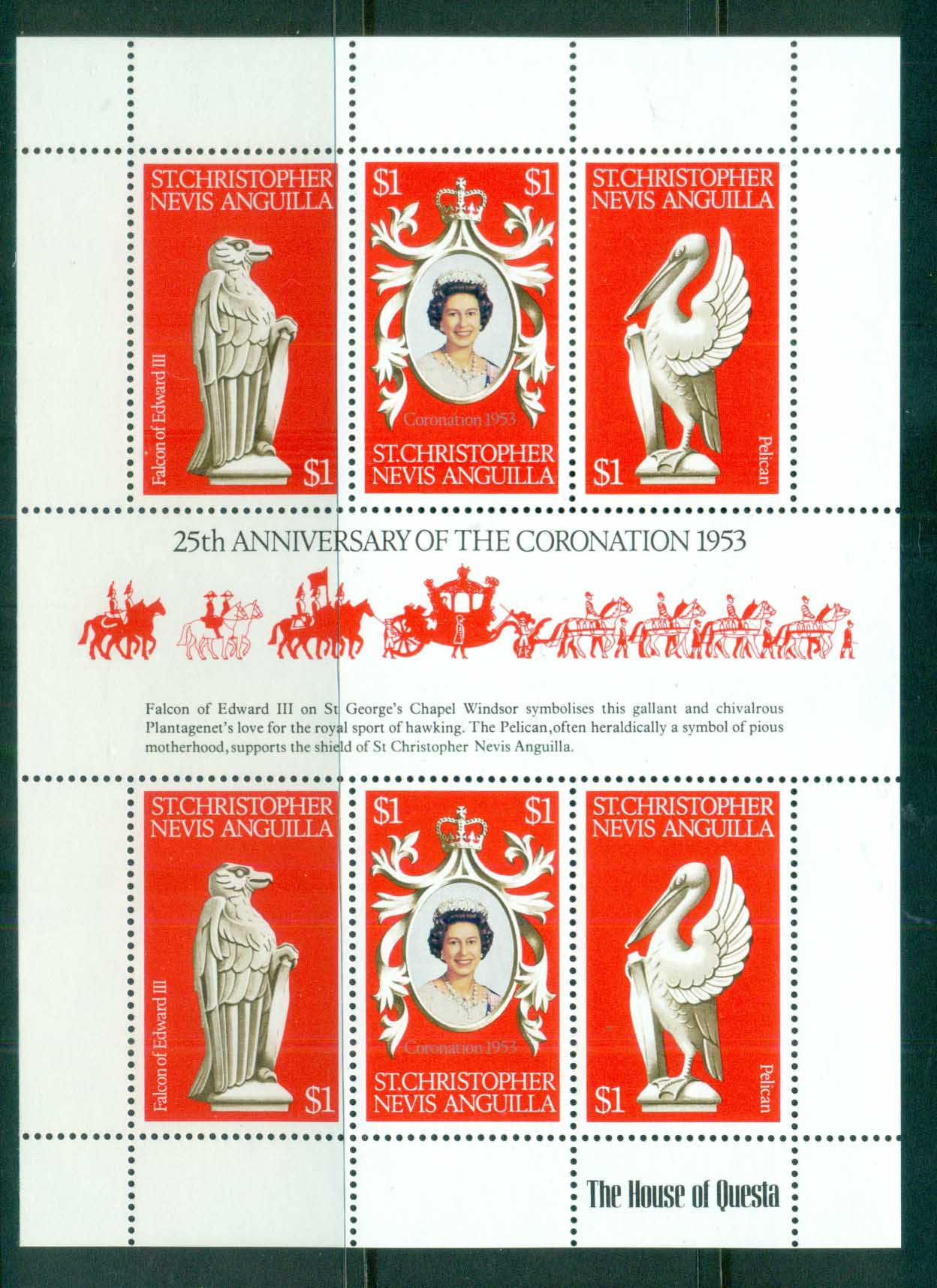St Christopher Nevis Anguilla 1978 QEII Coronation, 25th Anniversary , Royalty MS MUH