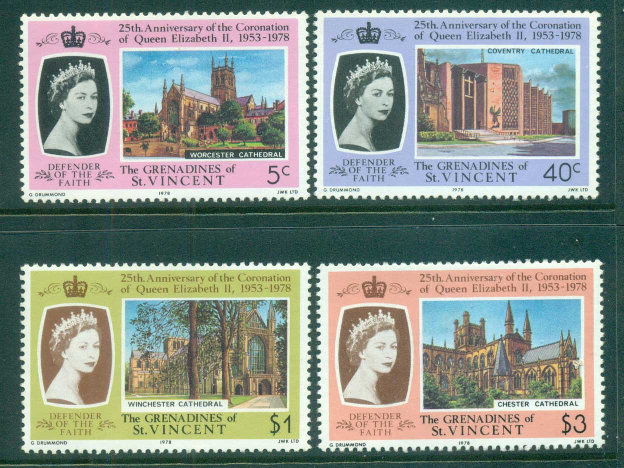 St Vincent Grenadines 1978 QEII Coronation, 25th Anniversary , Royalty MUH