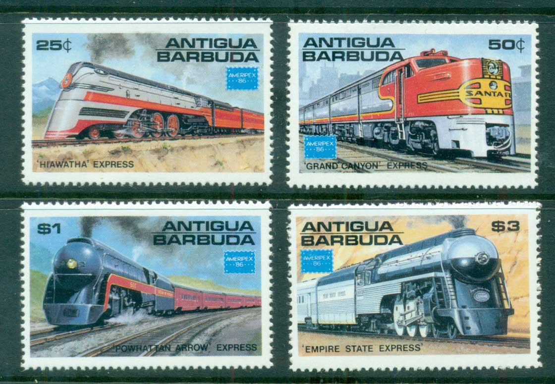 Antigua 1986 American Trains (4) MUH