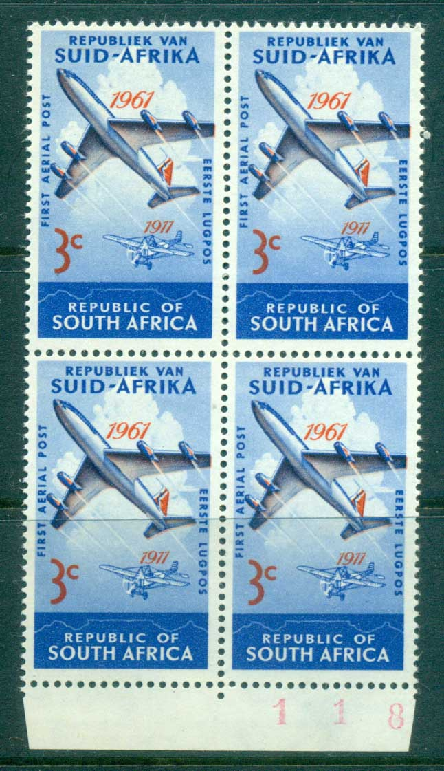 South Africa 1961 South Africa's 1st Airmail Blk4 MUH